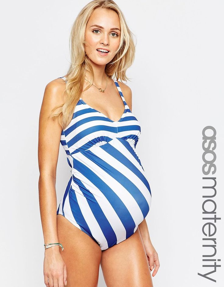 Image 1 of ASOS Maternity Swimsuit In Stripe
