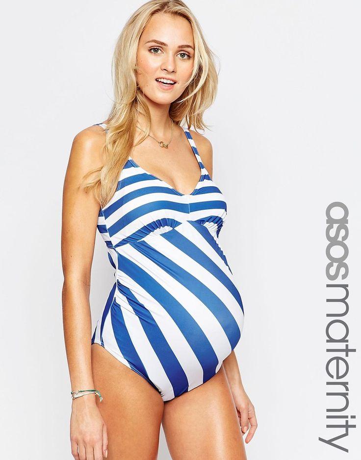 ASOS Maternity Swimsuit In Stripe