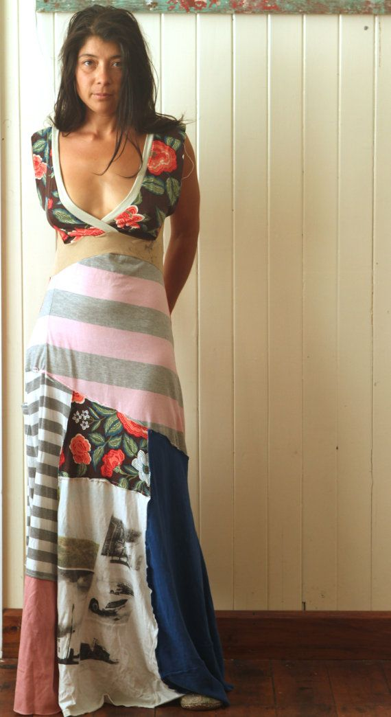 Upcycled tee shirt reversible maxi dress by pioupioukids on Etsy