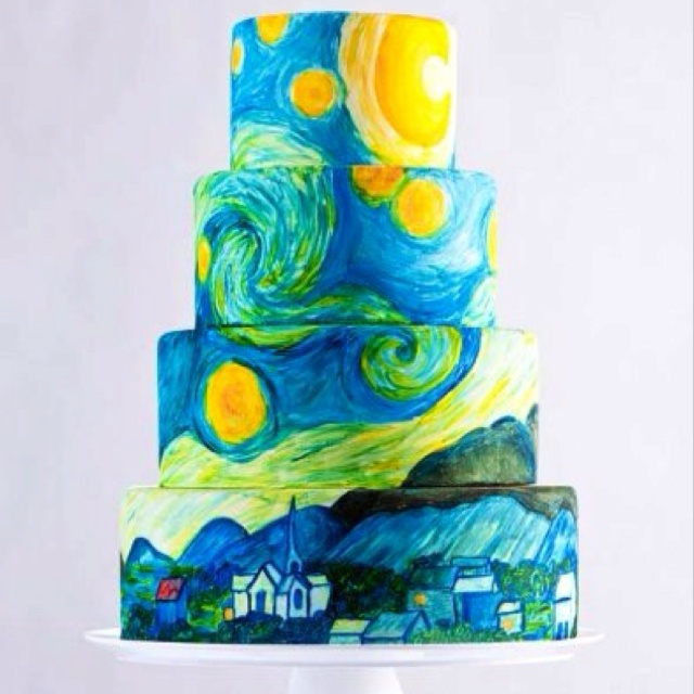 "Hand-painted, Monet's ""Stary Night"" cake. Incredible talent...."