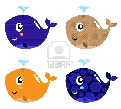Four stylized patterned whale collection. Vector