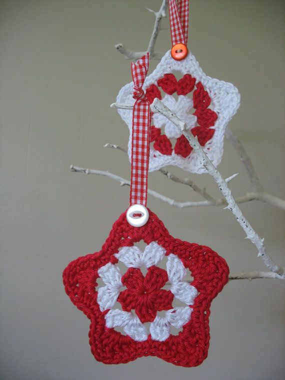 Red and White Crocheted Christmas Holiday Star Decorations.