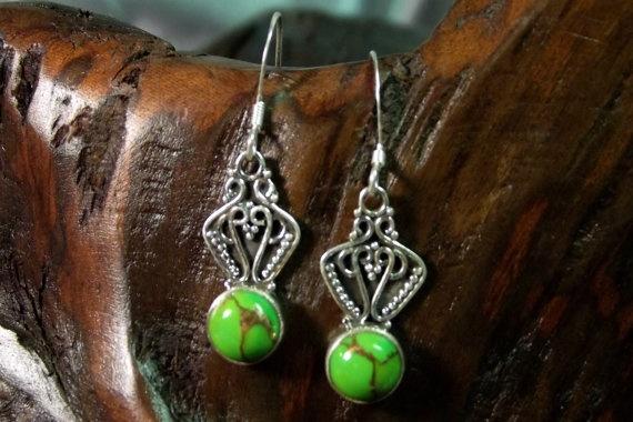 Copper Green Turquoise Arizona Silver Earrings  deesdesignercreations.com