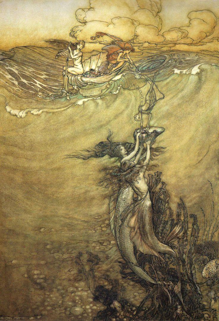 A beautiful underwater illustration by Arthur Rackham