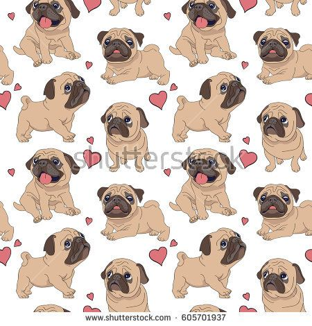 Seamless pattern with image of a Funny cartoon pugs puppies. Vector illustration.