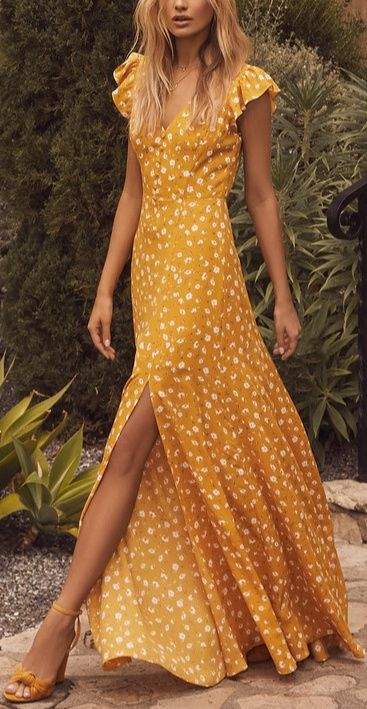 Lulus   Fresh Picked Mustard Yellow Floral Print Backless Maxi Dress   Size Large   100% Polyester