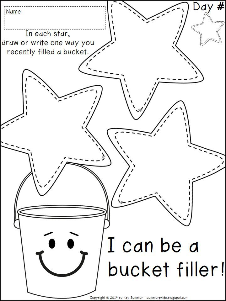 Sommer pride a bucket filling snack and freebie for Bucket filler coloring page