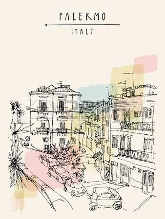 Vista de Palermo, Italia, Europa. edificios históricos Niza, Plaza, aparcamiento, palmeras. Viajar dibujo incompleto. cartel turístico, plantilla de la postal, la ilustración de libros en el vector