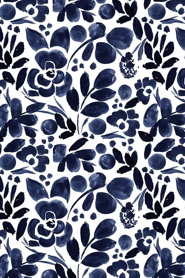 Beautiful hand painted watercolor floral pattern in navy