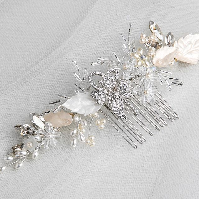 Add a touch of silver to your wedding look... Our Mia Silver Leaf Comb / Hair Vine is perfect for adding a hint of sparkle   Price: 160.00   Mia is a beautiful versatile comb that can be tweaked into shape. It can be positioned on the back or the sides.  Handmade bridal hair accessories from Donna Crain. See the entire collection at www.donnacrain.com or come and visit me in person. I offer a bespoke service too so do get in touch if you are looking for something different. X