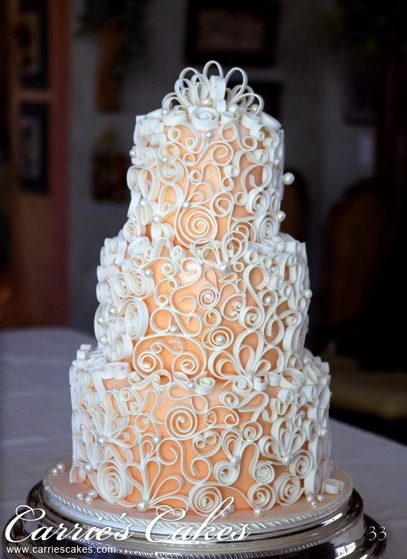 {Quilled} wedding cake | created by Carrie's Cakes
