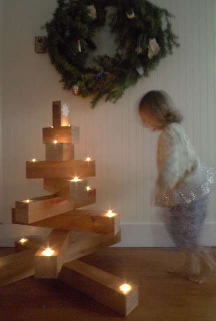 Wooden Christmas Tree...Would also be cute on a smaller scale with tea lights as a centerpiece