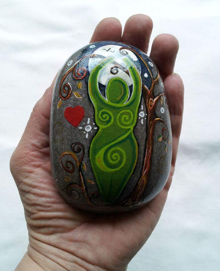 Rock Goddess. Sea Stone Spiral Goddess Altar Art. WITCH Pagan Fae Wicca Cauldron