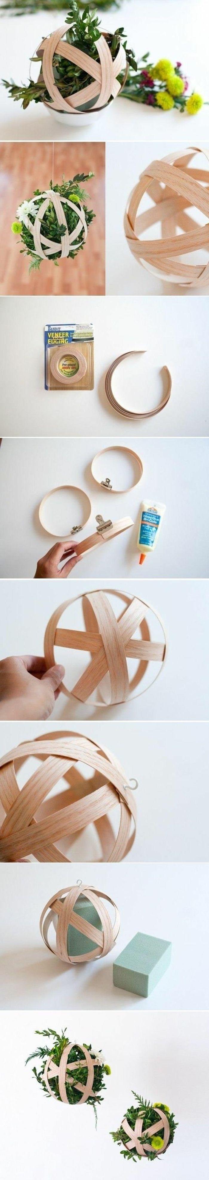 idee decoration mariage en bois et plantes vertes, deco table champetre: