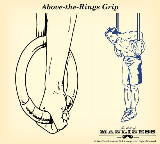 gymnastic rings above the rings grip illustration