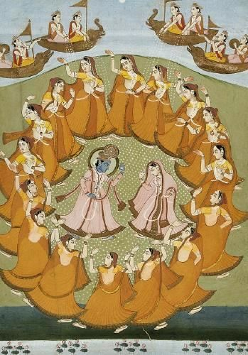 Krishna and Radha with her Sakhis dancing the Rasa Lila. Radha and Krishna dancing the 'Rasa-Lila' along with the 'Gopis'. This dance-form is attached with the love between Lord Krishna with the milk-maids (Gopis) of his village and his consort Radha in the Braj region of Uttar Pradesh [India] in and around Mathura and Vrindaban, and towns that are in someway or other attached to Lord Krishna and his times. Jaipur, India 19th C.