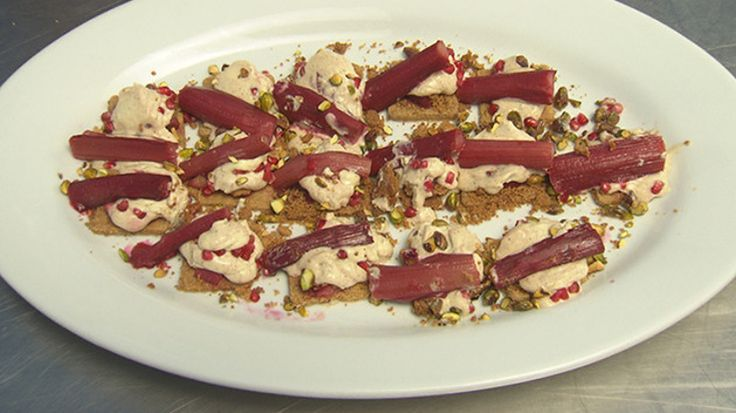 Riesling Poached Rhubarb with Ginger Biscuits