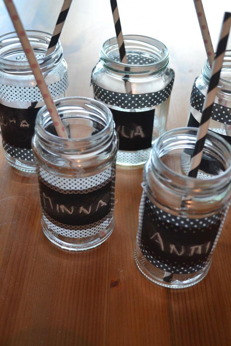 Hauskan lasit lasipurkeista DIY drinking glass from jar
