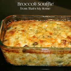 Broccoli Souffle - Broccoli, eggs and cheeses bake up perfectly in this light, delicious soufflé. Recipes, Food and Cooking