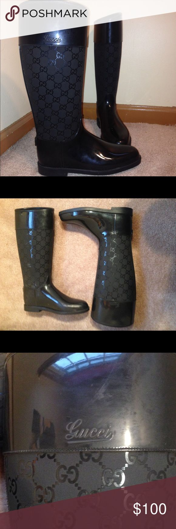 Female Gucci insulated rubber rain boots These Gucci boots are some seriously sleek looking boots! They're a size 36 which is about a 5.5-6 in women's shoe sizing. These boots are completely rubber which is perfect because you don't need to worry about leather in rain! They have a very nice insulation on the inside too! There's some scraping on the inner sides of the boots but other than that these are in great shape! Gucci Shoes Winter & Rain Boots