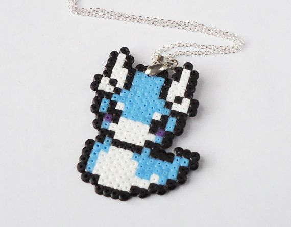 Pixel Dratini necklace Pokemon hama perler bead by FrozenCrafts