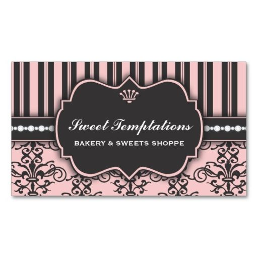 225 best business cards images on pinterest business card design elegant pink damask and stripe bakery business card this is a fully customizable business card reheart Choice Image