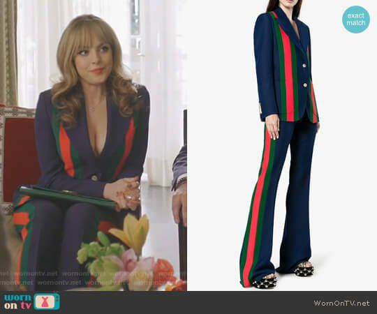 Fallon s navy striped suit on Dynasty. Outfit Details  https   wornontv. a56d02aae