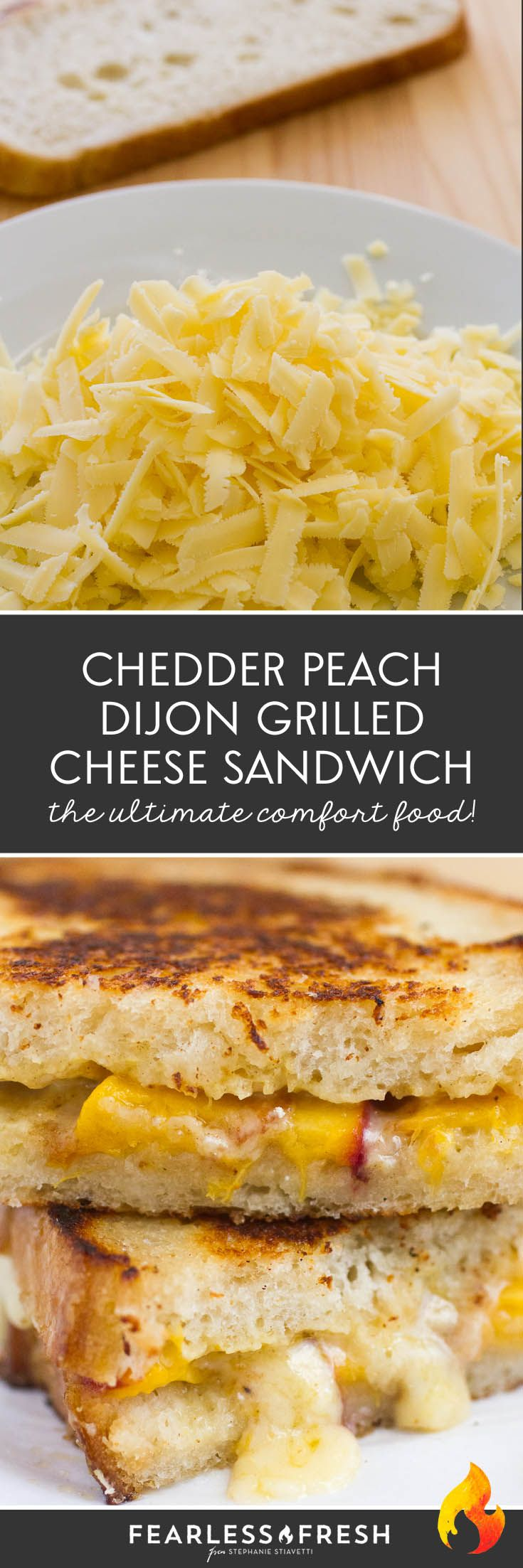 Gourmet Grilled Cheese Sandwich with Cabot Clothbound Cheddar, Peaches, and Dijon Mustard on Sourdough Bread on https://fearlessfresh.com/peach-dijon-cheddar-grilled-cheese-sandwich/
