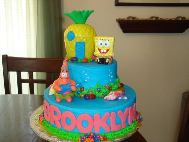Spongebob - I did this cake for a little girl who loves spongebob so I attempted to make it a little girly, I got this idea from variations of cakes from this site. Thanks to all.