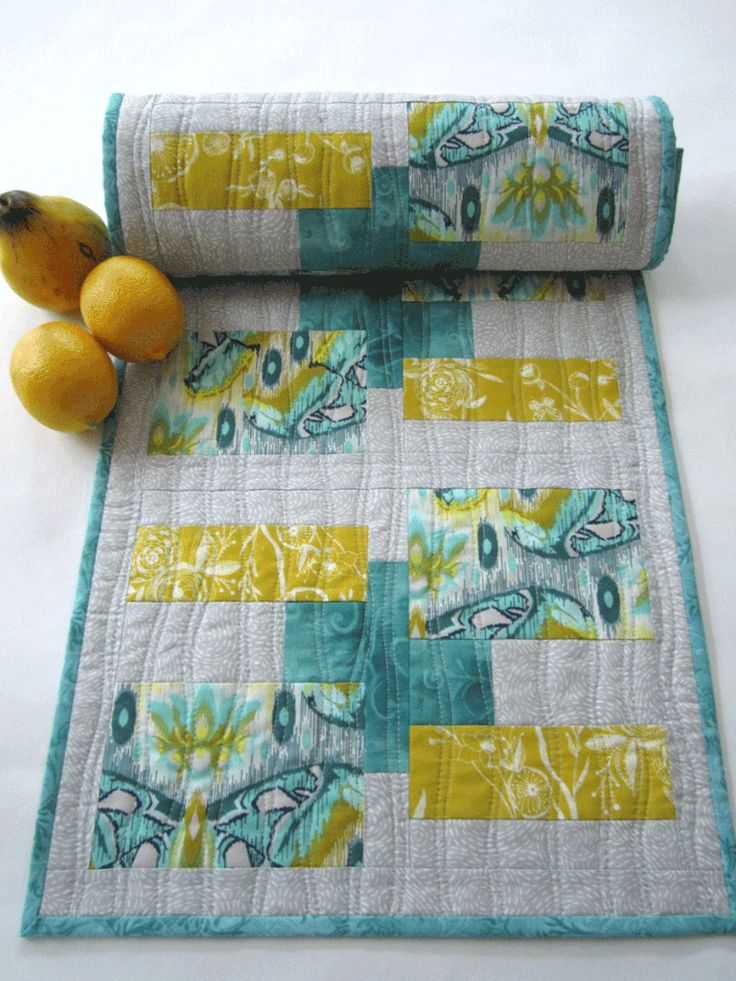 Modern Teal and Gold Quilted Table Runner