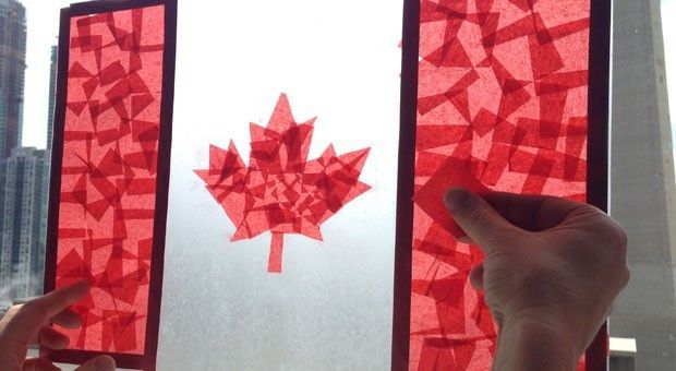 Contact Paper Stained Glass Canadian Flag: Easy Craft for Kids