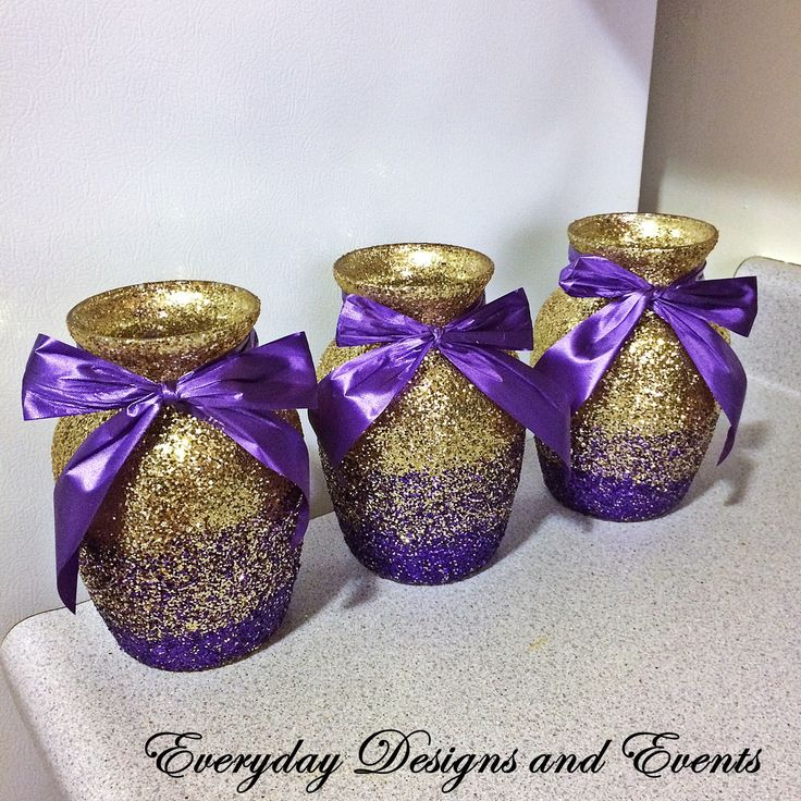 3 Ombre Vases Gold and purple ombre