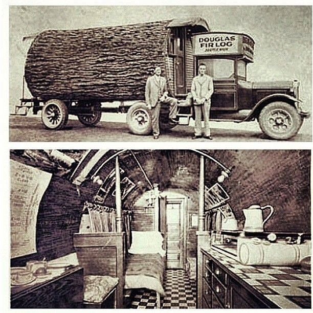 A Seattle, Washington, Motor home made from a single Douglas Fir Log on a 1920 3 ton Dodge Brothers chassis. The Douglas Fir was named after David Douglas a Scottish botanist.