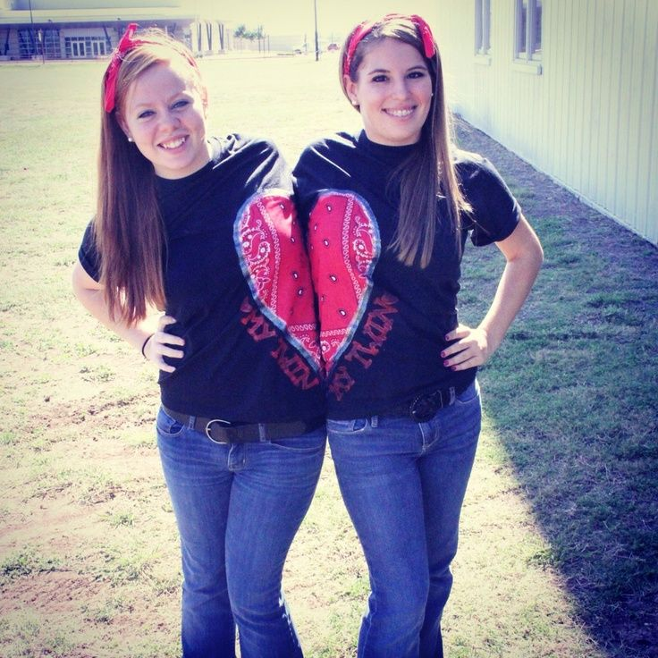Picture Ideas With Twins: Twin Day For Spirit Week! :)