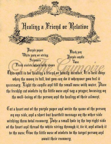 Curar a um amigo ou parente, Livro Das Sombras feitiços página, Wicca E Bruxaria | Colecionáveis, Religião e espiritualidade, Wicca e paganismo | eBay!