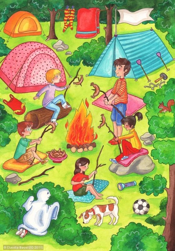 llustrator:   Claudia Bauer   Titel:   Camping am Waldsee   Schlagwörter:      Thema:   Natur, Gruppe, Kind  Stil:   Comic / Bildergeschichte / Manga, Cartoon  Medium/Anwendung:   Schulbuch, Kinderbuch, Jugendbuch, Bildung, Erziehung  Technik:   Buntstift, Aquarell