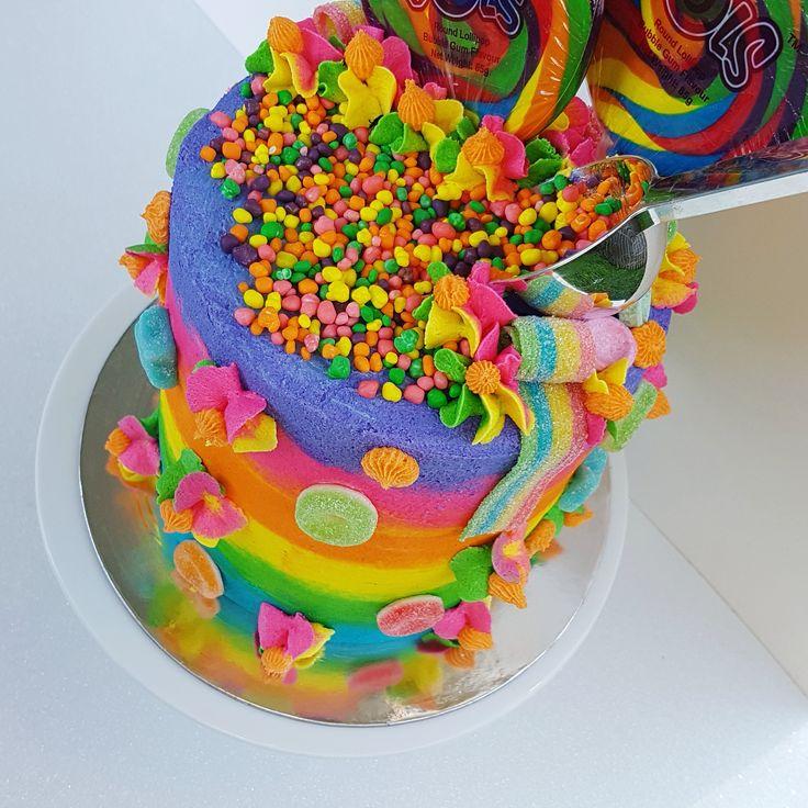 Rainbow, cake, Rainbow cake, colour, color, nerds, lollies, candy, candy cake, lolly cake, lollipop, lollipop cake, sour, sweet, baked by julz