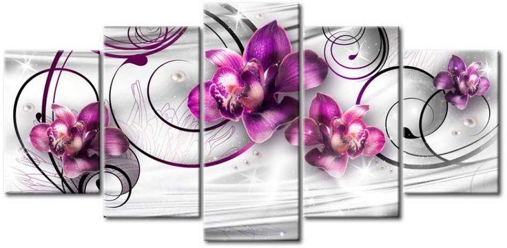 Impresión sobre tela Orquídeas y perlas. ¿Os gusta este cuadro? Seguro que queda muy guapo en interiores clásicos.