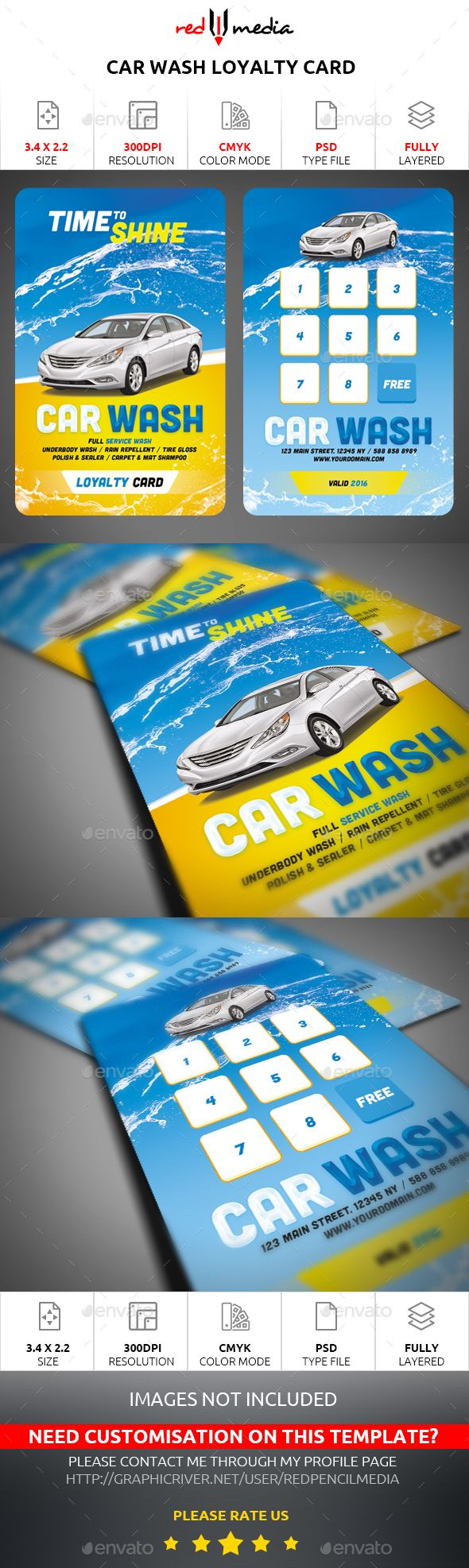 Car Wash Loyalty Card - Loyalty Cards Cards & Invites Template PSD. Download here: http://graphicriver.net/item/car-wash-loyalty-card/16703949?s_rank=110&ref=yinkira