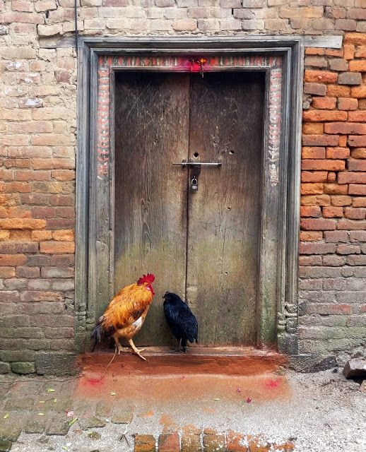 """""""Doors of Kathmandu"""" Captures the Vital Social Spaces of Nepal's Capital City,""""There is a tradition of offering prayers at the door every morning. The two red dots are the offerings to the 'Dwarpals' (security guards)"""". Image © Nipun Prabhakar"""