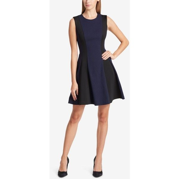 Dkny Colorblocked Jacquard Fit & Flare Dress ($139) ❤ liked on Polyvore featuring dresses, heritage navy, navy white dress, fit-and-flare dress, navy chevron dress, navy blue white dress and colorblock dress
