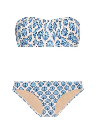 J.Crew Emblem Printed Bandeau Bikini: 100 Beach-Ready Swimsuits for Summer: Style: teenvogue.com