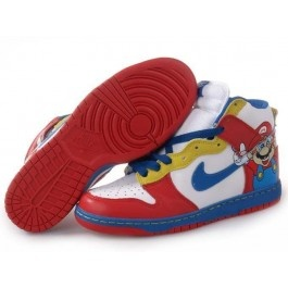 Mario Shoes!  The boys would lose their marbles over these shoes.  Birthday gift maybe...: Blue Lovers, Nike Dunks, Dunks Center, Red White Blue, Mario Shoes, Lovers Style, High Shoes, Dunks Outlets, Dunks High
