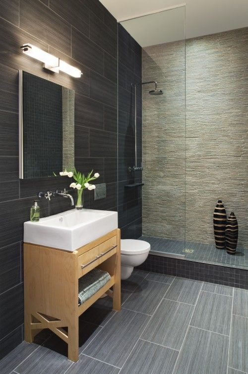Zen, modern, sleek, dark and light neutrals, light wood accent, white porcelain, track lighting, stone tiling