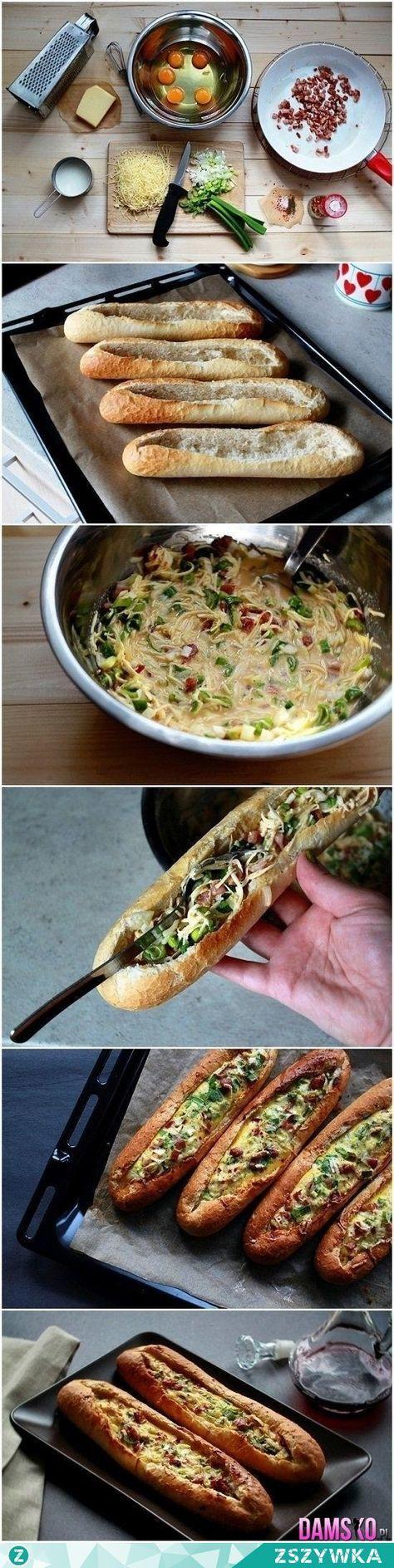Zobacz zdjęcie nadziewana bagietka Składniki:  2 bagietki (o długości 25 cm) 3 jajka 3 plasterki szynki szwarcwaldzkiej 3 łyżki szczypiorku posiekanego ½ łyżeczki przecieru z chili (np. sambal oelek, pasta z chili) lub posiekana papryczka chili (bez pestek) 40 ml mleka 60 g startego twardego koziego sera  ½ łyżeczki papryki (słodkiej, ostrej lub wymieszanej) sól pieprz  Wykonanie:  Środek obu bagietek wydrążamy. W tym celu wycinamy w bagietce rowek o przekroju litery V i podważając nożem…