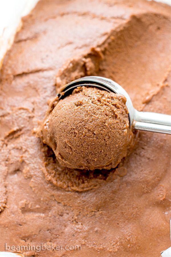 Dark Chocolate Nice Cream (V+GF): an easy, 4 ingredient recipe for velvety smooth, rich dark chocolate nice cream made of bananas, cocoa powder and maple syrup. #Vegan #GlutenFree #DairyFree | BeamingBaker.com