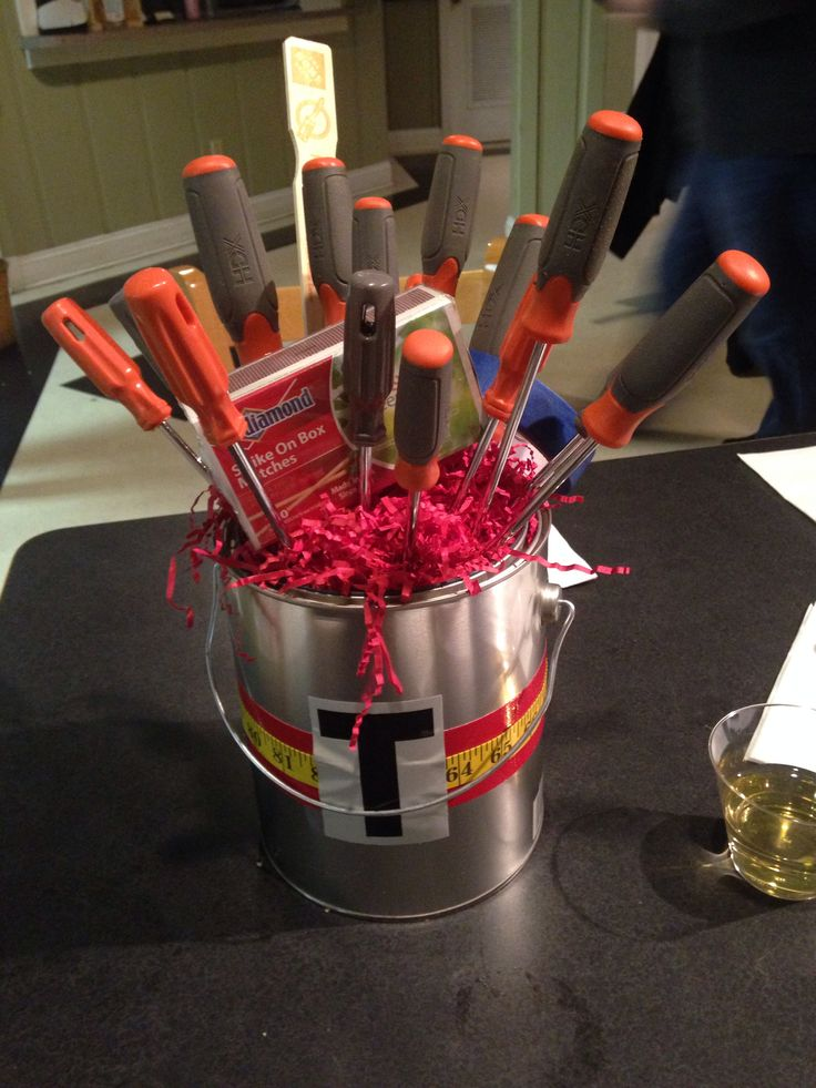 Honey do shower center piece Paint bucket and tools Great centerpiece and the couple can keep and use it.