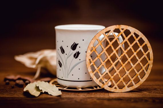 Grid-Wooden Coaster for glass-laser cut-for tea or coffee cup-drink-A006