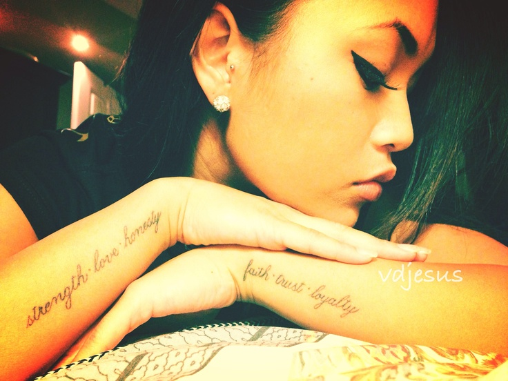 Faith. Trust. Loyalty. Strength. Love. Honesty.   #tattoo #bodyart