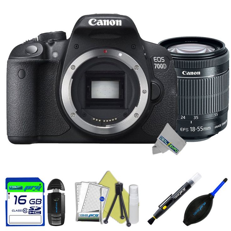 Canon EOS 700D 18MP Digital SLR Camera + Canon 18-55mm f/3.5-5.6 IS STM Lens + Expo-Starter Accessories Kit - International Version. 18.0 Megapixel Hybrid CMOS AF sensor. Creative Full-HD movies and Hybrid CMOS AF. ISO 100-12800 sensitivity, expandable to ISO 25600, 7 Creative filters with live preview. 5 fps shooting 9-point AF system, EOS System of lenses and accessories. This Kits Includes: I3ePro 16GB SD Card + SD Card Reader + Lens Pen + Blower + Cleaning Starter Kit + Expo-Exclusive...